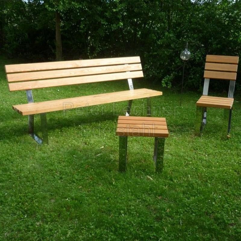 Otto Gartenmobel Gutschein : Bank mit Rückenlehne aus Edelstahl und Holz  Lecado Edelstahl Design